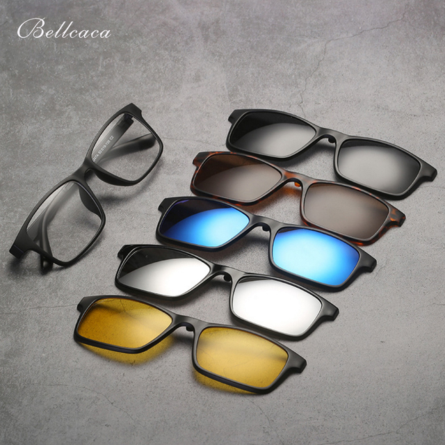 8fe5eea8b470 Spectacle Frame Eyeglasses Women Men With 5 clip on Polarized Sunglasses  Magnetic Adsorbent For Female Male