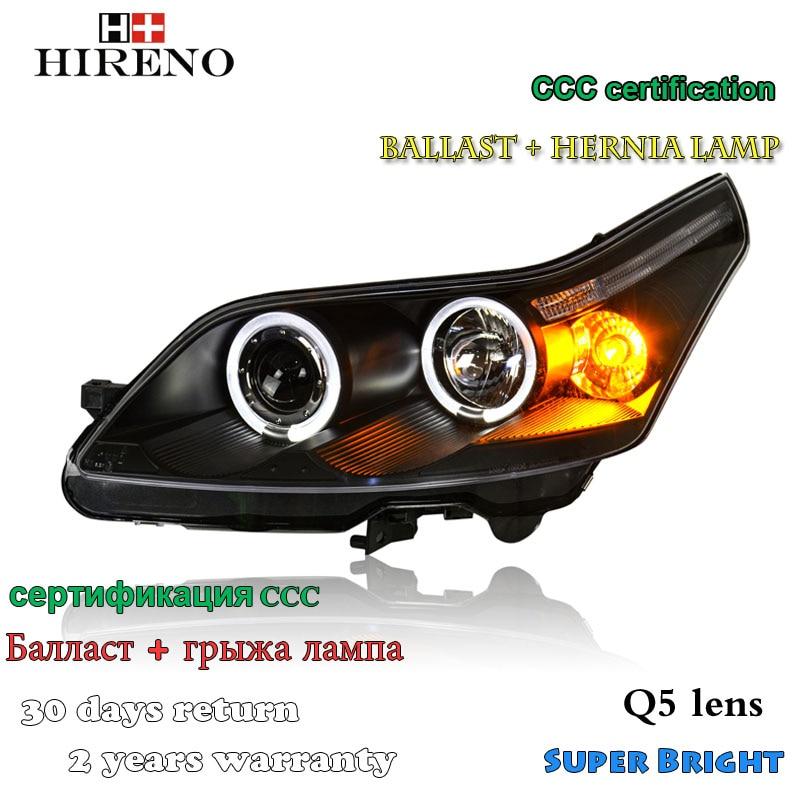 Hireno Headlamp for 2008-2011 Citroen C4 Headlight Assembly LED DRL Angel Lens Double Beam HID Xenon 2pcs hireno headlamp for 2010 2012 kia sorento headlight assembly led drl angel lens double beam hid xenon 2pcs