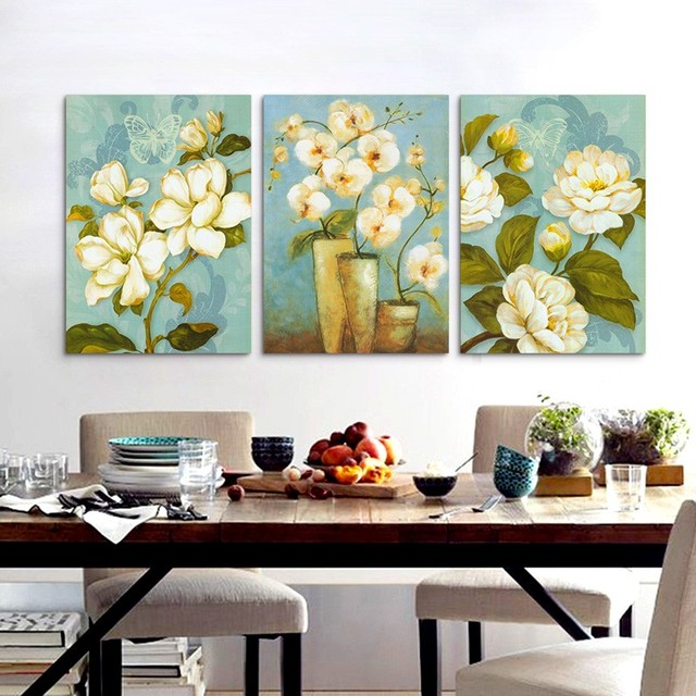 Us 1038 46 Off3 Piece Painting Magnolia Flower Wall Painting Art Hd Printed Picture Canvas Modern Home Wall Decor Abstract Artwork Unframed In