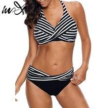 f166071d6c In-X Halter top Striped sexy bikini 2019 Plus size swimwear women bikinis  Black swimsuit
