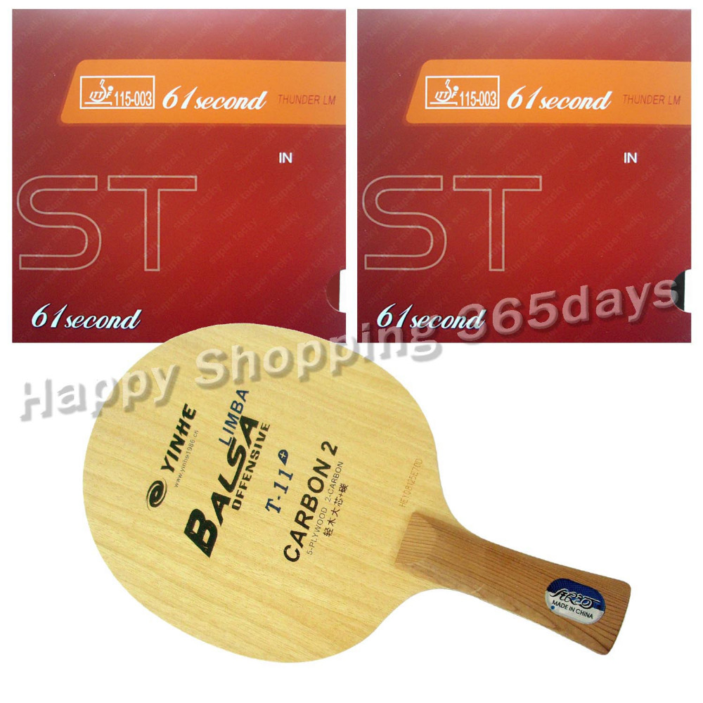 Pro Table Tennis PingPong Combo Racket Galaxy T-11+ Blade with 2x 61second LM ST Rubbers Shakehand Long Handle FL pro table tennis pingpong combo racket ritc729 v 6 blade with 2x transcend cream rubbers shakehand long handle fl