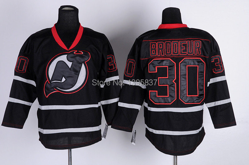 9629650e91e Authentic New Jersey Devils Ice Hockey Jersey  30 Martin Brodeur Black Green  Red White Hockey Jersey