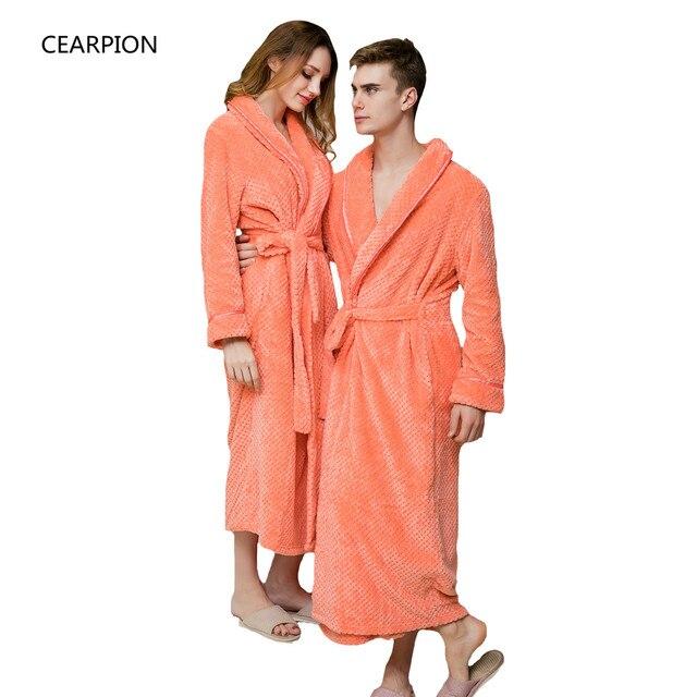 36d1197a15 CEARPION Women Robe Men Winter Warm Sleepwear Thick Flannel Home Wear  Lovers Kimono Bathrobe Gown Solid