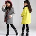 Дети шерсть пальто для девочек сгущает теплее девушки пальто плед дети зимой мода шерстяные куртки девочка одежда 2016 AA1487