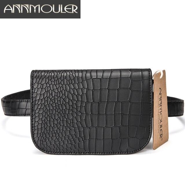 Annmouler Brand Women Waist Packs New Design Fanny Pack Festival Bum Bag Hip Purse Pu Leather Utility Belt Bag for Ladies