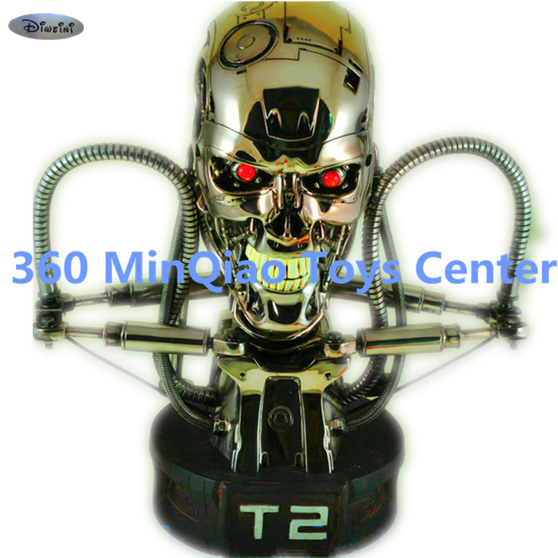 Statue Terminator 1:1 Bust T2 Skull Cool Light Silver Plating GK Action Figure Collectible Model Toy RETAIL BOX WU874 gmasking terminator 2 t800 endoskeleton skull head statue scale 1 2 replica