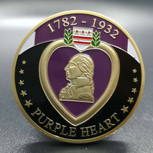 2 pcs The Purple Heart 1782-1932 Collectibles Military Merit awarded Coin Excellent Collection Antique Coin