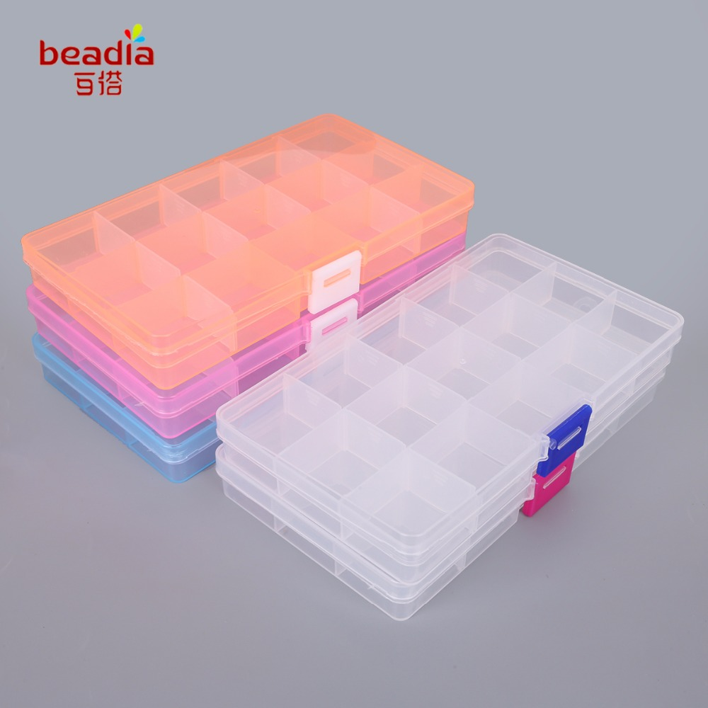 Hot Sale 1pc/bag 17.4x9.8x2.2cm Easy To Carry Beads Box 15 Slot Plastic Jewelry Storage Boxes For The Office 2018 New Fashion