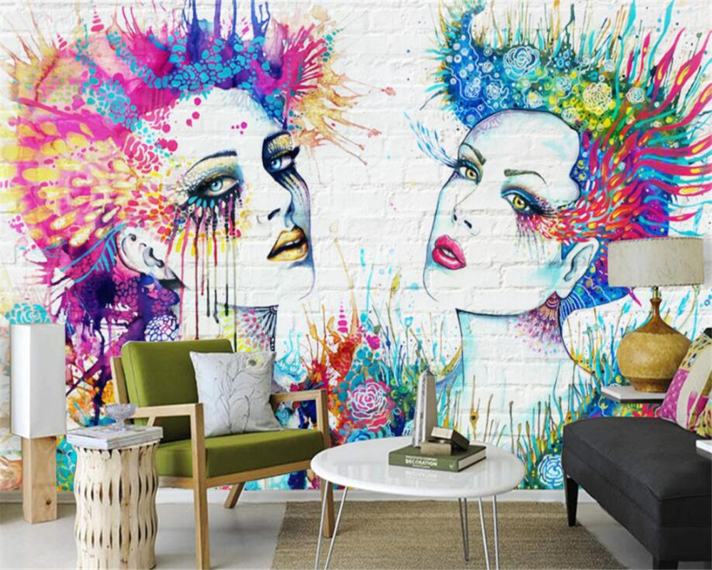 Beibehang Custom wallpaper mural <font><b>Sexy</b></font> colorful beauty brick <font><b>wall</b></font> TV background <font><b>wall</b></font> <font><b>wall</b></font> <font><b>paper</b></font> home decor wallpaper for <font><b>walls</b></font> <font><b>3d</b></font> image