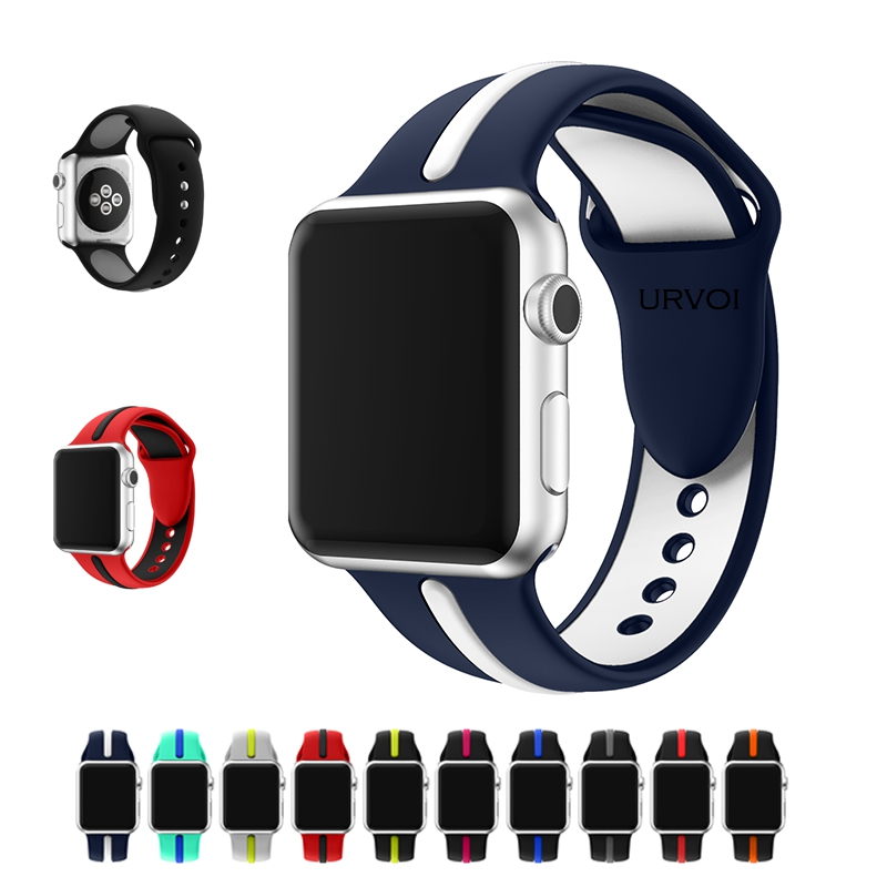 URVOI sport band for apple watch series 1 2 strap for iWatch Soft Silicone Ultraman Replacement band with pin-and-tuck closure 38mm 42mm soft silicone sport strap for apple watch series 1 2 light flexible breathable replacement band watch strap for iwatch
