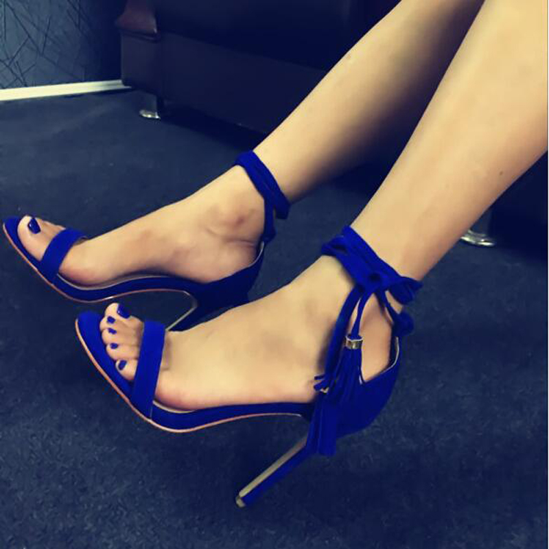 New Arrival High Heel Sandal Lace Up Fringed Sandals High Quality Party Summer Dress Shoes Women Wholesale Drop Shipping high quality suede leather strappy sandal high heel cut out ankle strap lace up summer dress shoes zapatos dress shoes for women