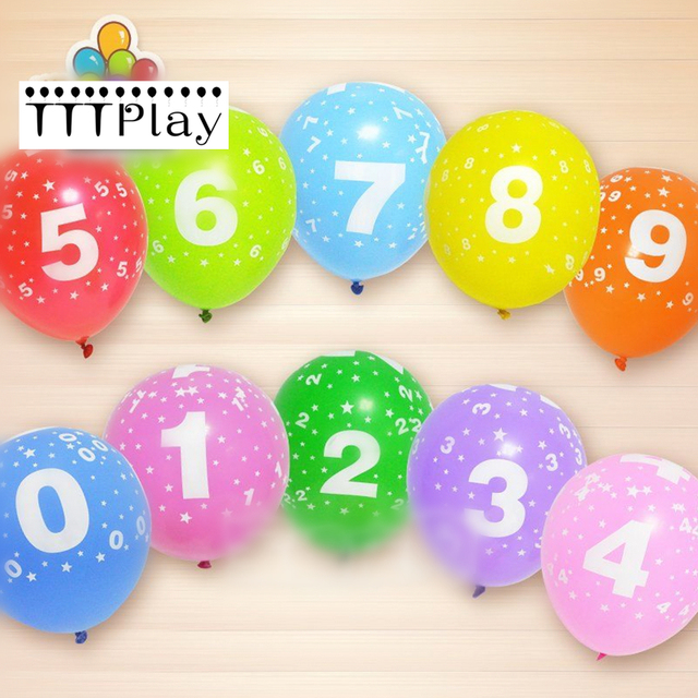 10pcs Lot 12inch 0 9 Number Latex Balloon Inflatable Air Balls Wedding Decoration Printed Balloons Happy Birthday Party Supplies