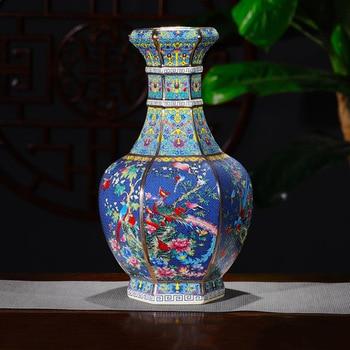 Jingdezhen Antique Enamel Vase Vases Flowers And Birds Pattern Ancient Ming and Qing Porcelain