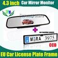 """2на1 4.3 """" авто монитор зеркало TFT + европейский автомобиль номерного знака знака держатель с парковки CCD HD"""