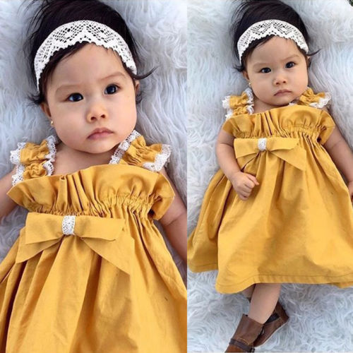 Casual Kids Baby Girls Lace Dress Ruffles Bow Party Dresses Sundress Yellow  Dress for Little Girl-in Dresses from Mother   Kids on Aliexpress.com  686d76d1981e