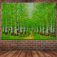 Hand Painted Abstract Impasto Green Birch Forest Landscape Oil Painting Green Birch Forest Picture Living Room Home Wall Decor