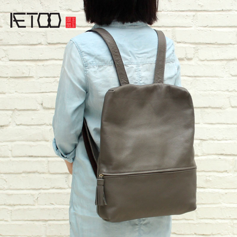 где купить AETOO Simple anti-theft design leather shoulder bag female soft leather large capacity of the College of Arts and the first laye по лучшей цене
