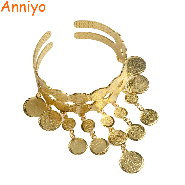 Anniyo Gold Color Arab Coins Bangle Women Islam Muslim Charm Ethnic Coin Bracelet Middle Eastern Jewelry Wedding Gifts #068006