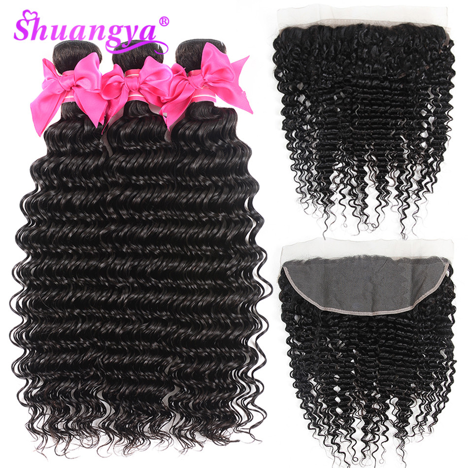 Shuangya Hair Lace Frontal With Bundles Malaysian Deep Wave 100 Human Hair Bundles With Frontal Remy