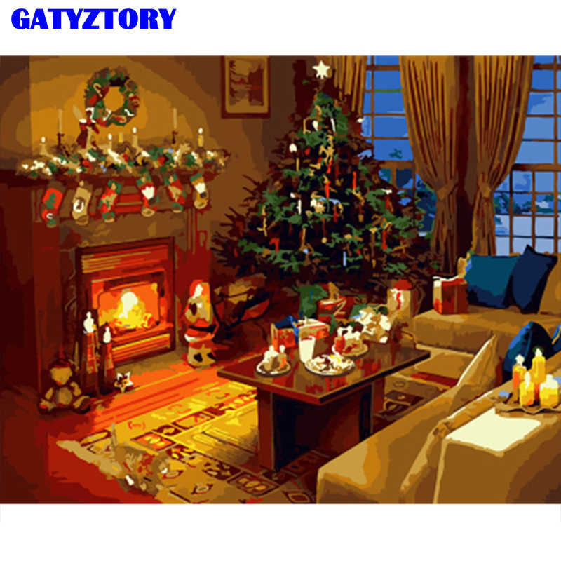 GATYZTORY frame Christmas decoration diy painting by numbers acrylic wall art picture unique gift handpainted for home decor art