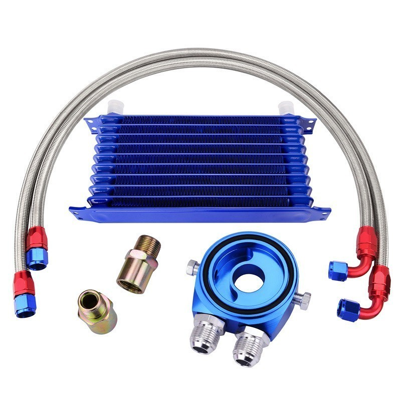 SPEEDWOW 10Row 10AN Engine Racing Oil Cooler Kit 1M 1 2M Stainless Steel Braided Hose Line