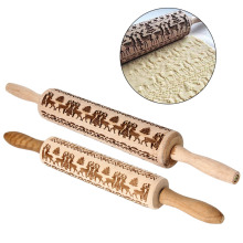 Hot Christmas Elk Print Rolling Stick Solid Wood Exquisite Pattern Pin Kitchen Tools