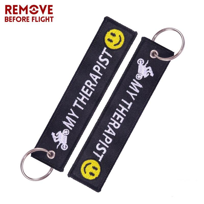 1 шт. удалить перед полетом брелок мой терапевт брелки вышивка ключей для байкеров подарки брелок ювелирные llavero