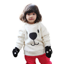 2018 Winter Warm Fleece Thicken Baby Sweatshirts Infant Cute Cartoon Animal Bear Kids Pullover Long Sleeve Tops Toddler Blouse(China)
