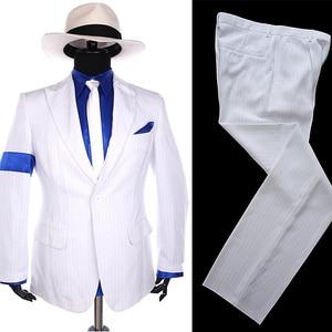 MJ Michael Jackson rayure classique mauvais lisse criminel 1990 S blanc Blazer Costume chemise cravate chapeau Halloween Costume cadeau de noël