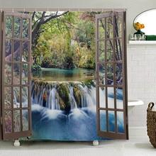 Grande cachoeira no fundo da floresta visto a partir de uma janela da cidade épico surreal decorativo cortina de chuveiro paisagem cortina do banheiro