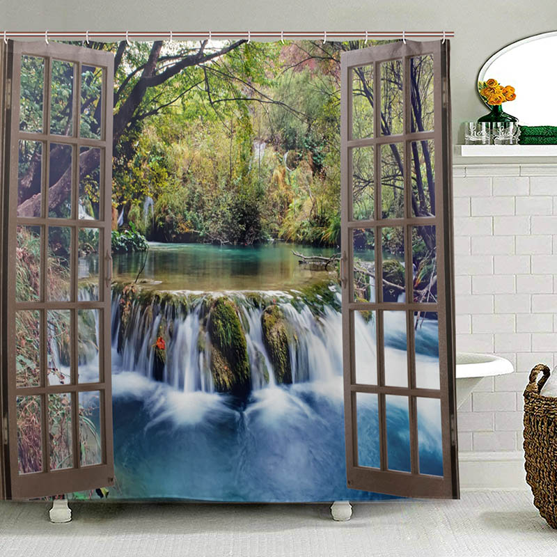 Wide Waterfall Deep Down in The Forest Seen from A City Window Epic Surreal Decorative Shower Curtain Landscape Bathroom Curtain-in Shower Curtains from Home & Garden