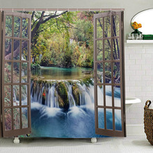Wide Waterfall Deep Down in The Forest Seen from A City Window Epic Surreal Decorative Shower Curtain Landscape Bathroom Curtain