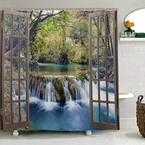 Image 1 - Wide Waterfall Deep Down in The Forest Seen from A City Window Epic Surreal Decorative Shower Curtain Landscape Bathroom Curtain