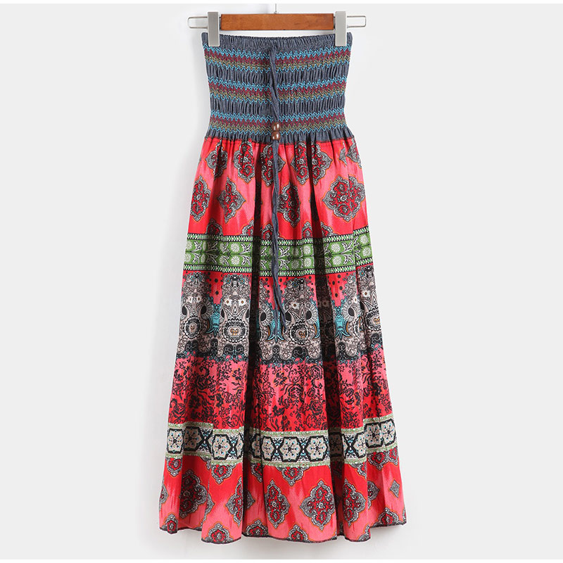 HTB1jNYiSSzqK1RjSZPcq6zTepXaQ - Boho Floral A-line Women's Maxi Skirt Elastic High Waist Sashes Vintage Pleated Womens Skirts Summer Fashion Clothes Female