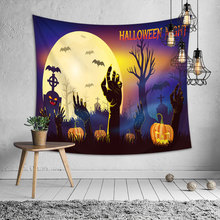 Halloween Night Horror Tapestry Wall Hanging Hippie Tomb Pumpkin Bat Moon Psychedelic Tree Witchcraft Carpet Throw