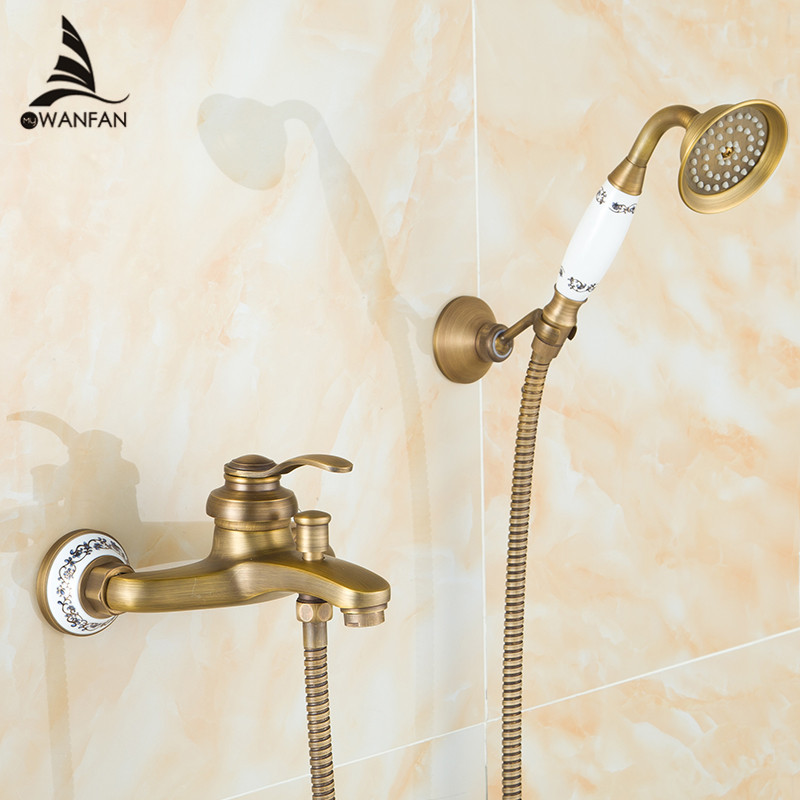 Bathtub Faucets Antique Brass Shower Set Bathtub Mixer Tap Single Handle Dual Contral Shower Wall Mounted For Bathroom 6756Q new chrome finish wall mounted bathroom shower faucet dual handle bathtub mixer tap with ceramic handheld shower head wtf931