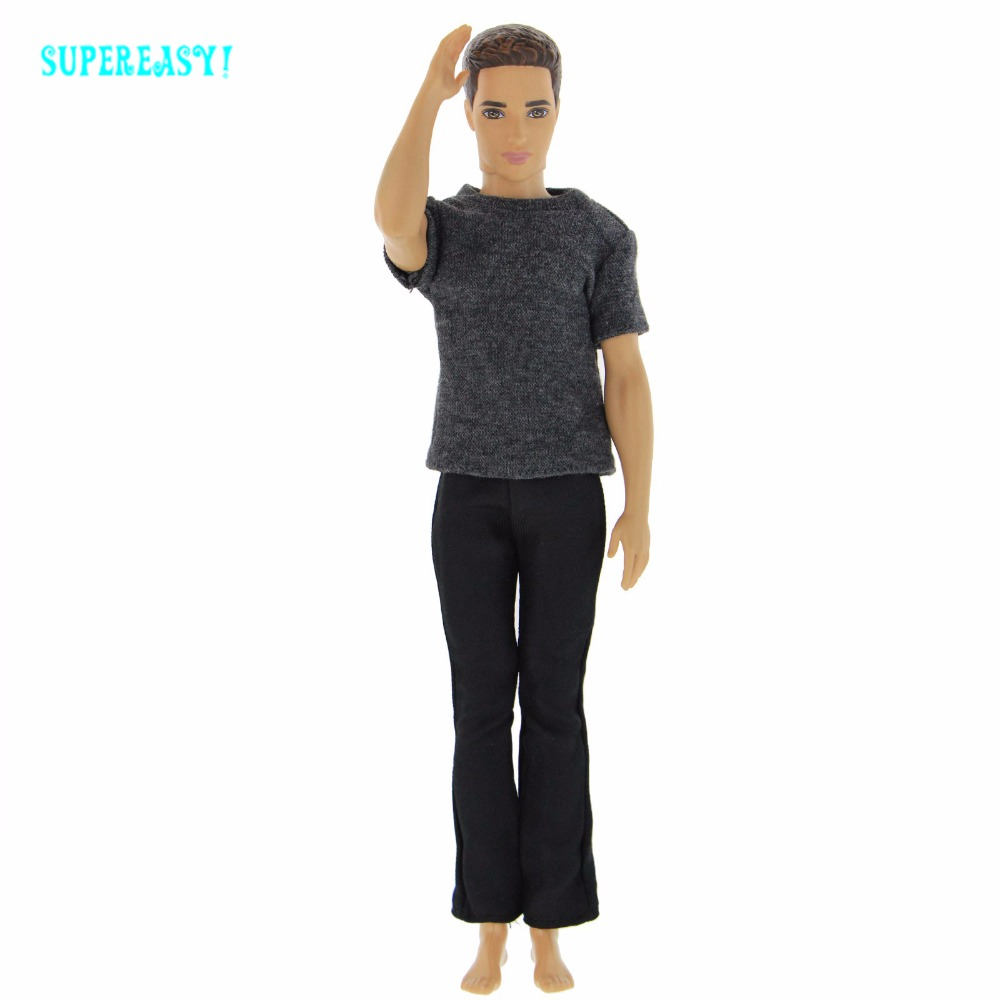 Handmade Cool Outfit Daily Casual Wear Gentleman Costume T-shirt Pants Trousers Clothes For Barbie Friend Ken Doll Accessories 30 new styles festival gifts top trousers lifestyle suit casual clothes trousers for barbie doll 1 6 bbi00636