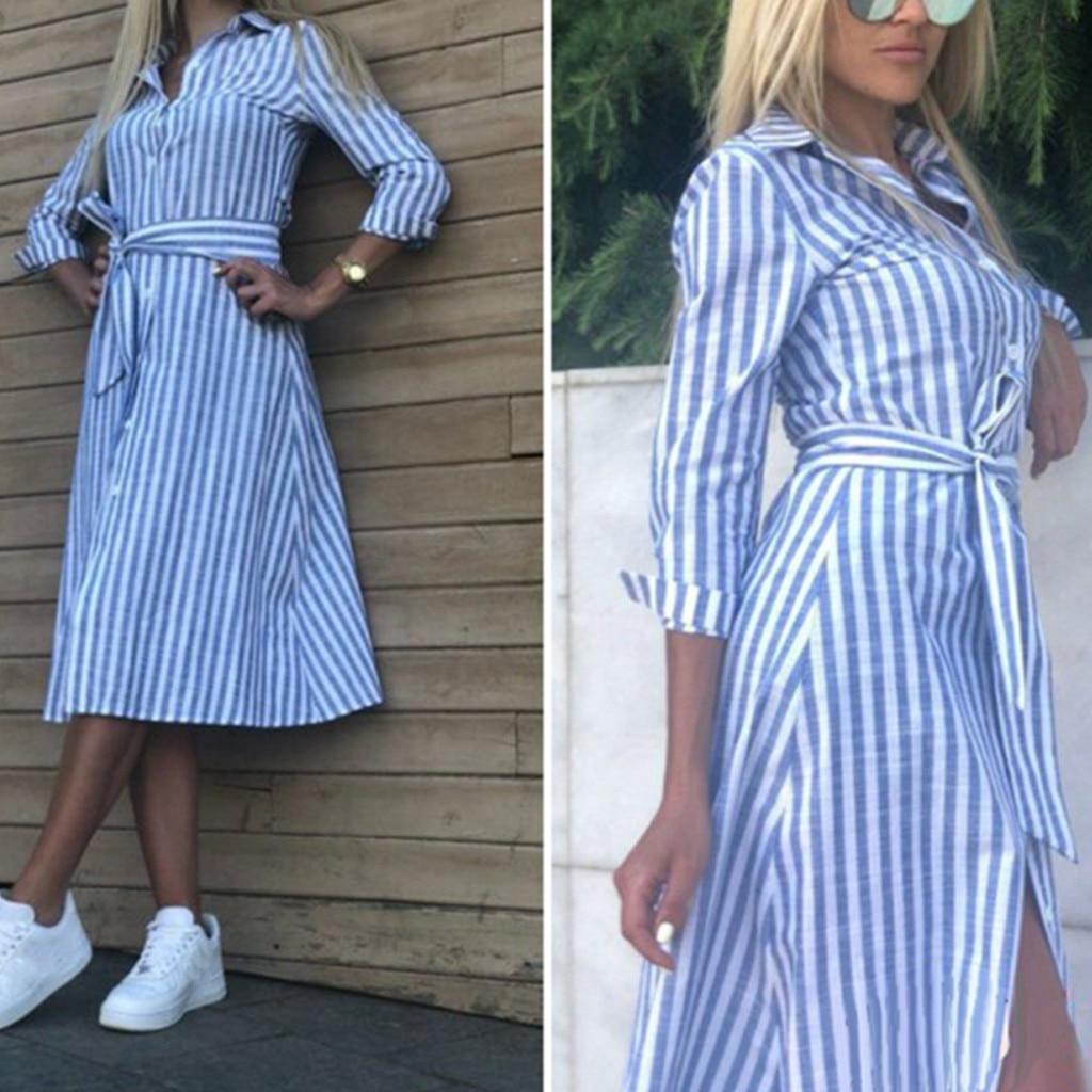 Women's Fashion A-line Dress Lapel Solid Color Striped Button Long Sleeve Belt Shirt Vestidos Casual Daily Wear Summer Dresses