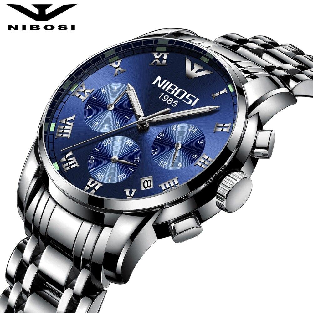 Nibosi 2018 Fashion Men Watch Top brand Luxury Quartz Watch men Chronograph Calendar Luminous Hands Waterproof Relogio masculino
