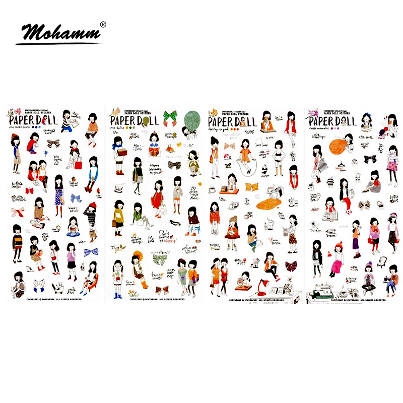 6 Sheets/lot Cute Pencil Drawing Girl Mini Pvc Transparent Korean Stickers Papers Flakes Kids Decorative For Cards Stationery fashion leaf pattern decorative front back pvc stickers set for iphone 6 4 7 grass green