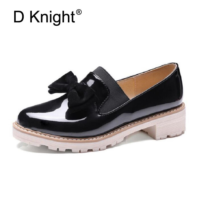 Spring Summer Oxfords Casual Bowtie Loafers Platform Shoes Woman Slip On Creepers Patent PU Leather Women Flats Shoes Size 34-43 fashion women flats platform shoes creepers summer women casual shoes loafers slip on white black moccasins chaussure femme