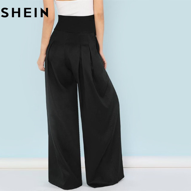 SHEIN Self Belted Box Pleated Palazzo Pants Women Elegant Loose Long Pants 2018 Fall Ginger High Waist Wide Leg Pants 2