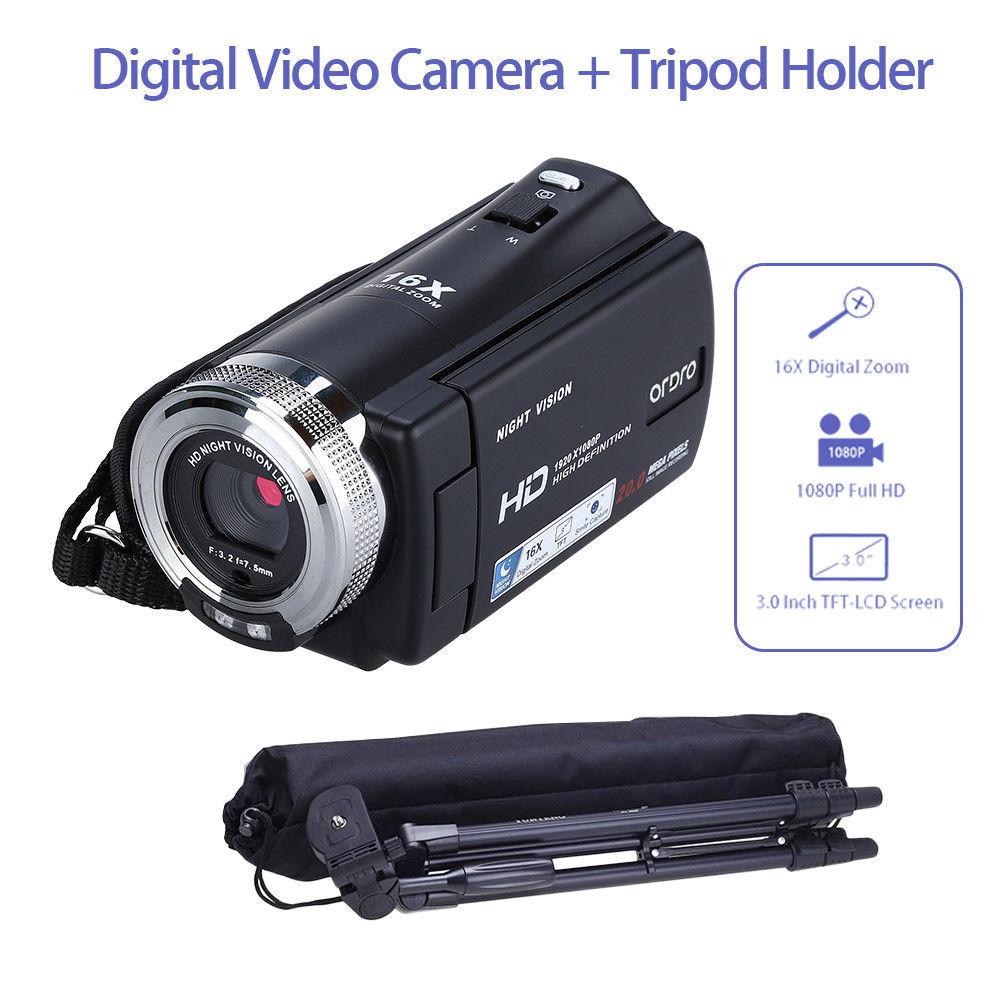 ORDRO HDV-V12 Digital Camera 3.0 LCD CMOS Sensor 1080P 20MP QVGA Camcorder DVR Night Vision 16x Zoom Microphone + Tripod ordro hdv v12 3 0 lcd cmos sensor 1080p fhd digital camera dvr usb cam dv 16x zoom video recorder night vision camcorder