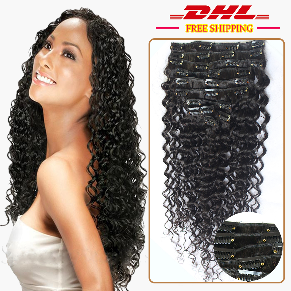 120g Loose Deep Wave Human Hair Clip In Curly Hair Extensions Virgin