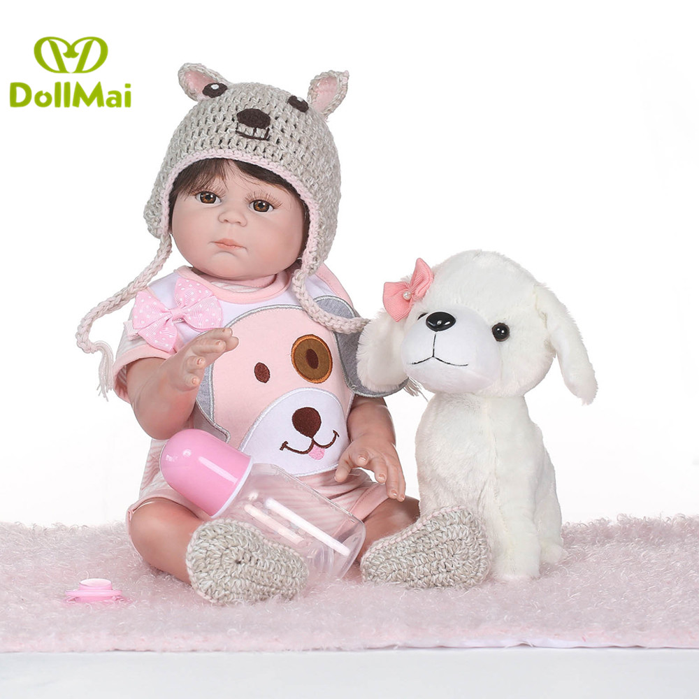 2050cm full silicone reborn baby dolls adorable girl bebe dolls reborn with puppy plush doll for kids xmas gift  2050cm full silicone reborn baby dolls adorable girl bebe dolls reborn with puppy plush doll for kids xmas gift
