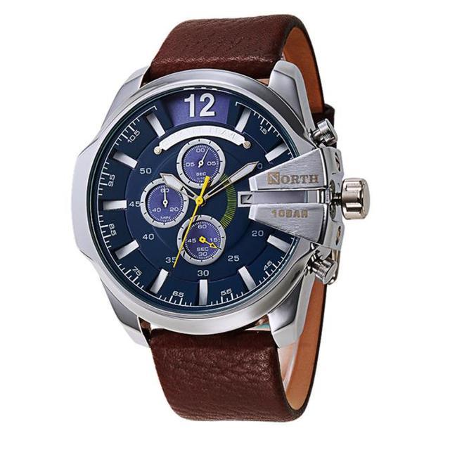 2e984f59f4d Norte Homens Esportes Relógios de Luxo de Couro Falso Caso Rodada Shap  curvatura do aço Inoxidável