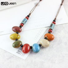 Ethnic Style Colorful Beads Necklace Handmade Rope Ceramic S