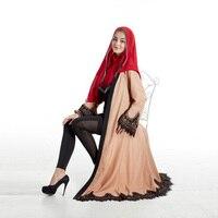 אופנה חדשה אלגנטי תחרת פשתן שרוול ארוך מוסלמי האסלאמי דובאי ערבית העבאיה Jilbab תורכי סינגפור מקסי שמלות נשים שמלה