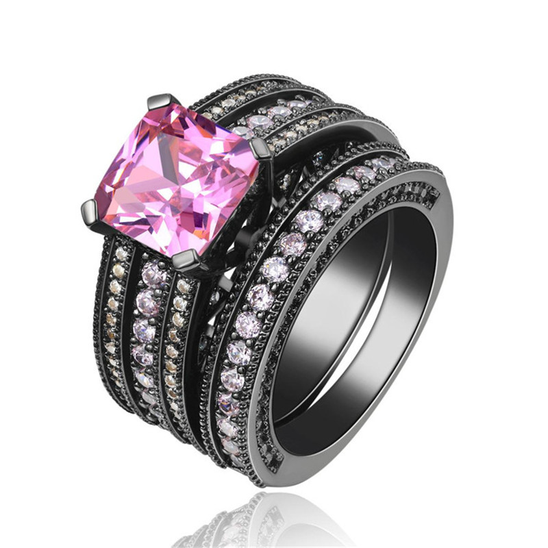 hhyde punk vintage jewelry pink women engagement ring set anel cz wedding band black color double rings size 7 8 9 - Pink And Black Wedding Ring Set