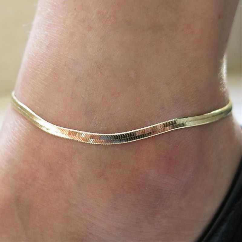 L153 Women Sexy Thin Metal Chain Anklets Scale / Upscale Beach Sandals Snake Bone Chain Bracelet Foot Jewelry Tobillera